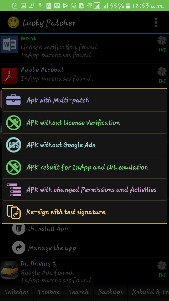 different modded app options