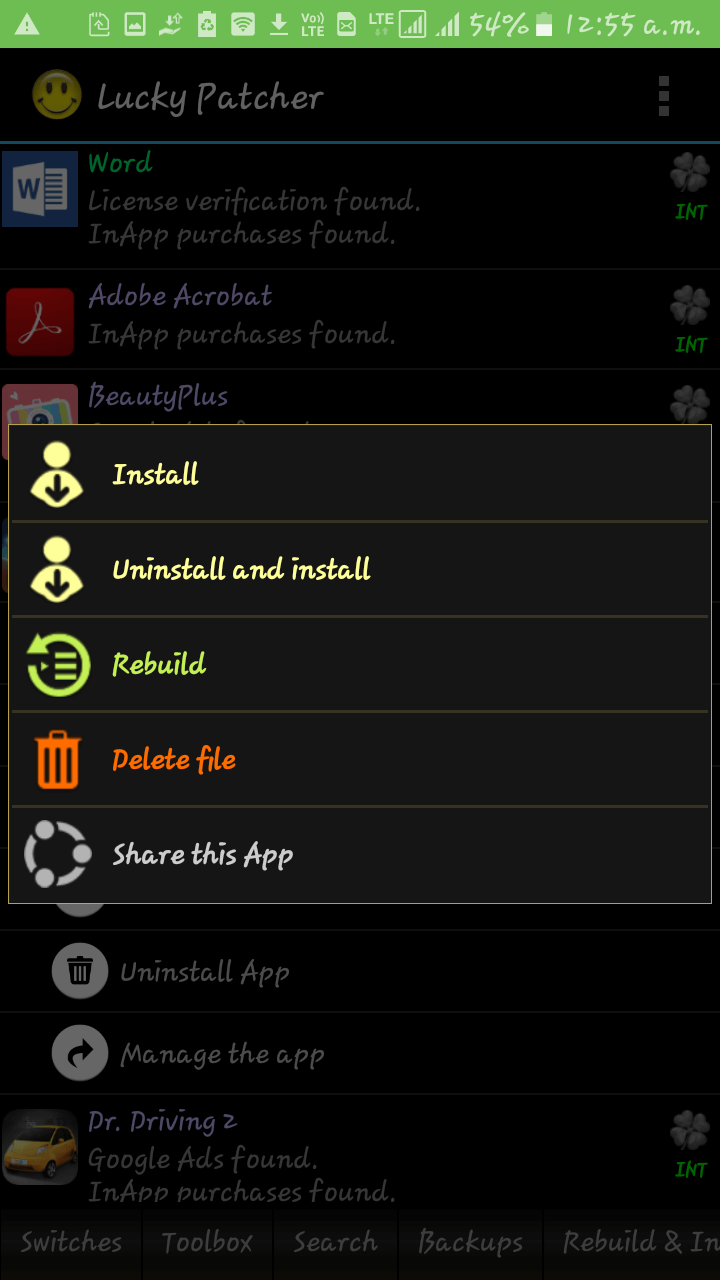 install and uninstall options in lucky patcher